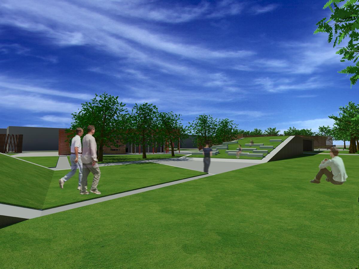 PPA Terranuova Bracciolini - Rendering del parco attrezzato con anfiteatro verde - Tommaso Vecci