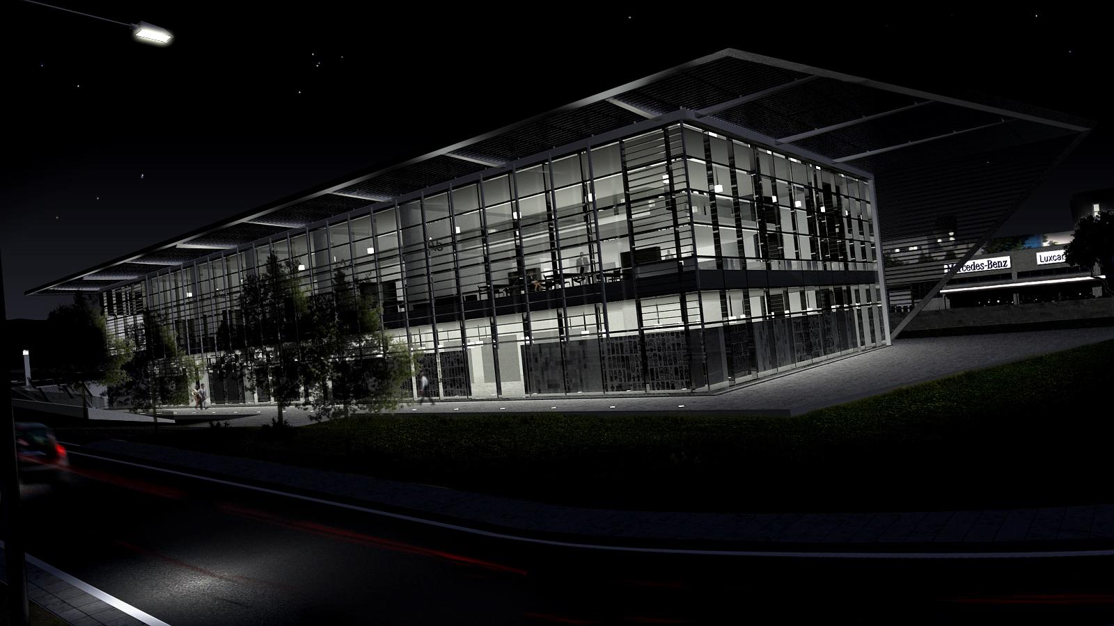 Edificio terziario Pesaro - Vista notturna facciata sud-ovest - Tommaso Vecci