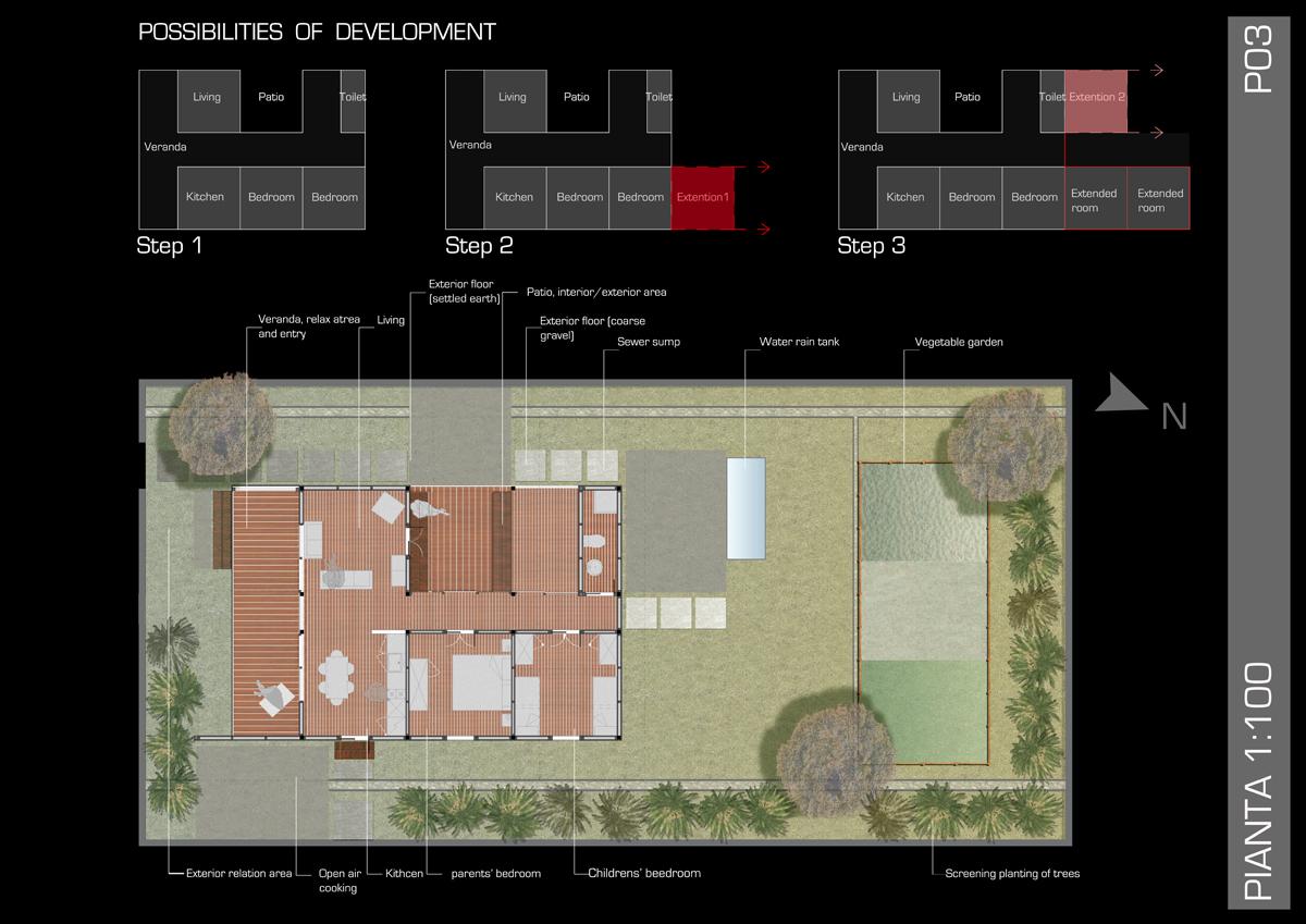 OSH Ghana - Planimetria dell'edificio e delle sistemazioni esterne, con possibilità di sviluppo - Tommaso Vecci