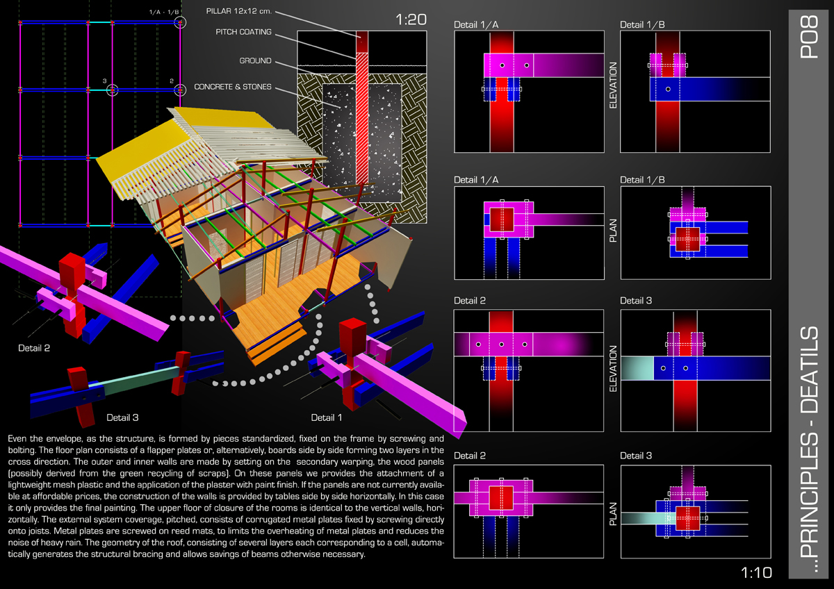 OSH Ghana - Dettagli costruttivi della struttura e del sistema di assemblaggio - Tommaso Vecci
