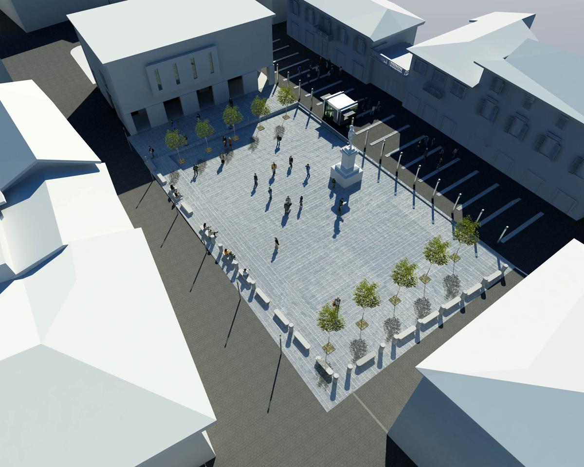 Piazza Montanelli - Vista assonometrica della nuova piazza - Tommaso Vecci