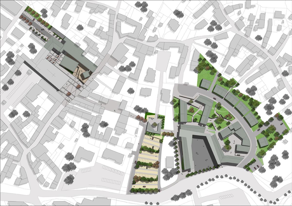 Piossasco - Planivolumetrico dell'intervento urbanistico con individuazione delle aree verdi e per la sosta - Tommaso Vecci