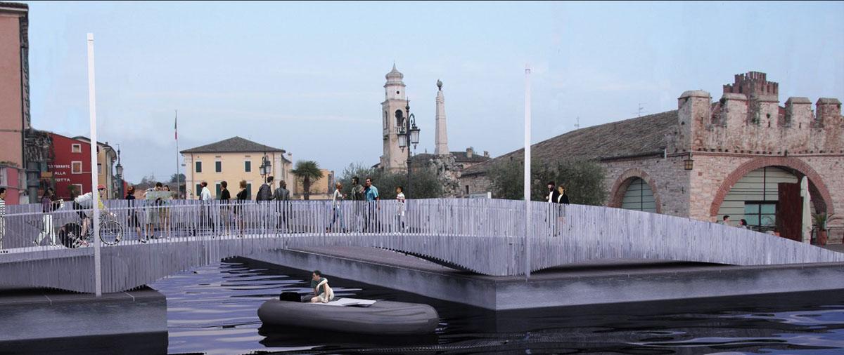 Ponte Lazise - Rendering del ponte pedociclabile e rapporto con la Dogana Veneta - Tommaso Vecci