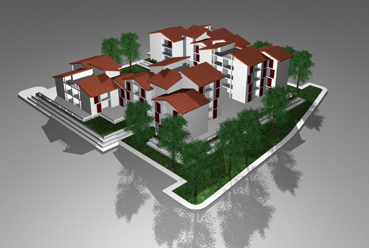 ERP Lucca - Vista tridimensionale degli alloggi di social housing - Tommaso Vecci
