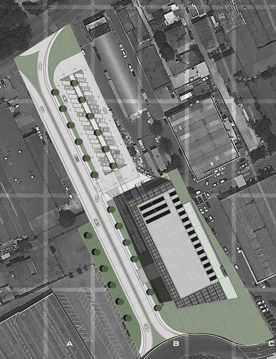 Edificio terziario Pesaro - Planimetria generale con sistemazioni esterne a verde e per la sosta - Tommaso Vecci