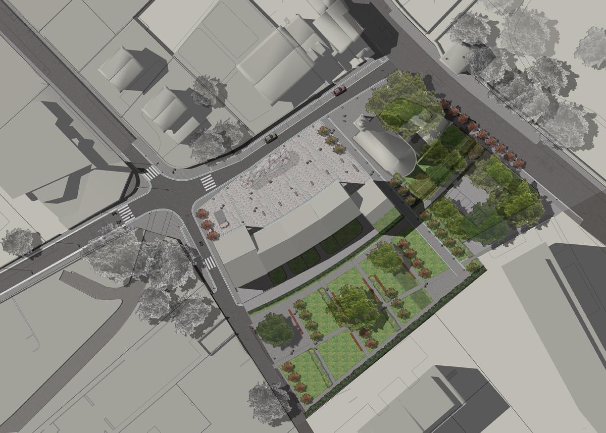 Petit Saconnex - Planivolumetrico dell'intervento urbanistico con indicazioni delle aree verdi e per la sosta - Tommaso Vecci