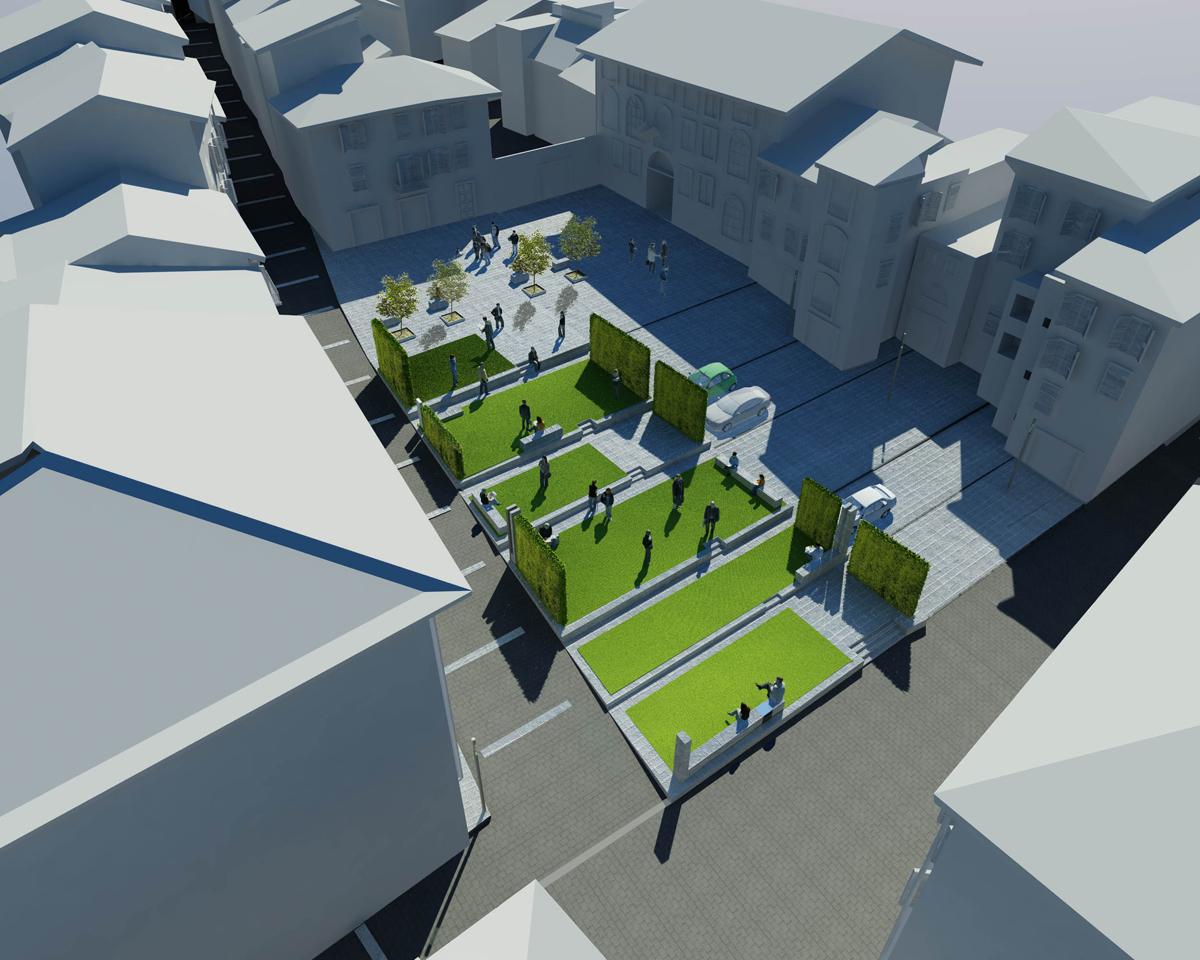 Piazza Amendola - Vista assonometrica della nuova piazza - Tommaso Vecci