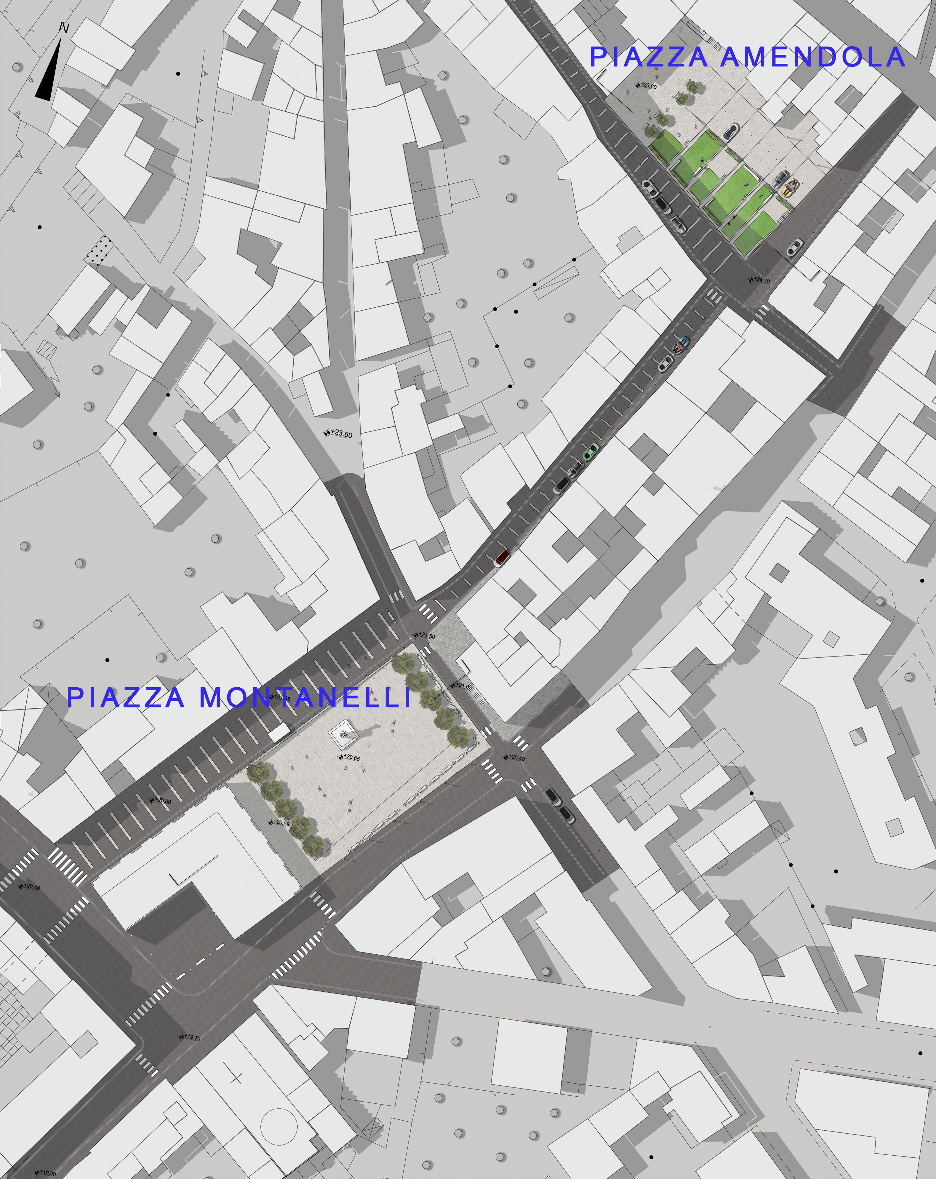 Piazza Montanelli - Planivolumetrico dell'intervento complessivo di ricucitura del centro storico - Tommaso Vecci