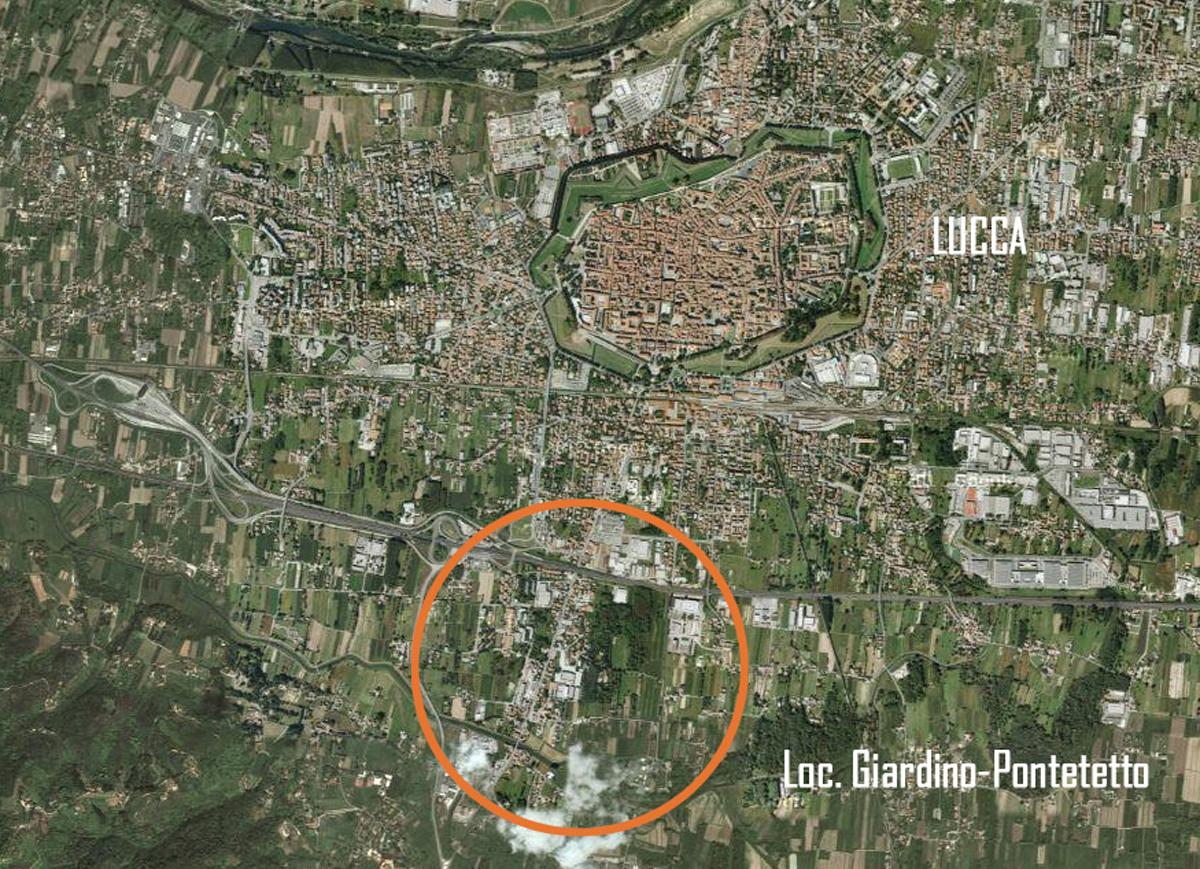 ERP Lucca - Localizzazione dell'intervento rispetto al centro storico di Lucca - Tommaso Vecci