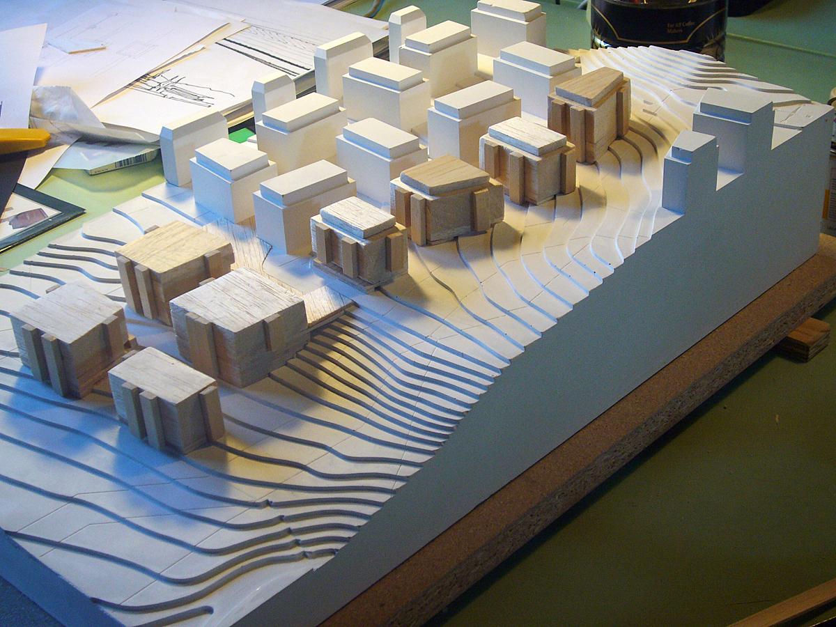 Lausanne - Maquette con inserimento del nuovo intervento all'interno del tessuto esistente - Tommaso Vecci