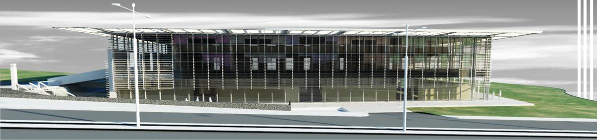 Edificio terziario Pesaro - Prospetto ovest con schermatura frangisole di facciata - Tommaso Vecci