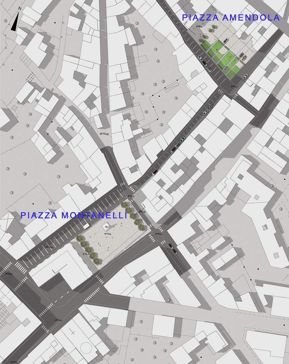 Piazza Amendola - Planivolumetrico dell'intervento complessivo di ricucitura del centro storico - Tommaso Vecci