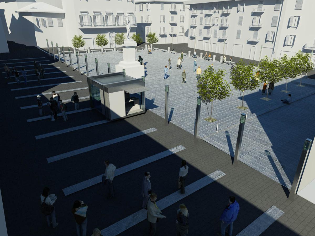 Piazza Montanelli - Vista della piazza con nuove pavimentazioni, corpi illuminanti e nuova edicola in acciaio e vetro - Tommaso Vecci