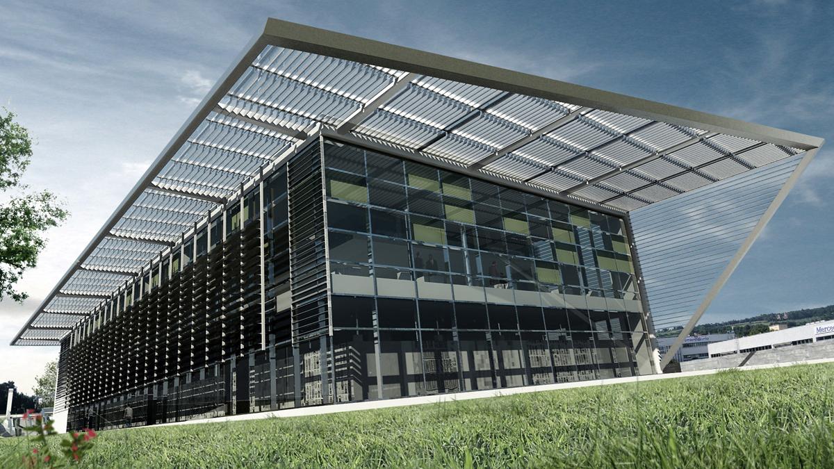 Edificio terziario Pesaro - Fronte sud con copertura in lamelle metalliche frangisole - Tommaso Vecci