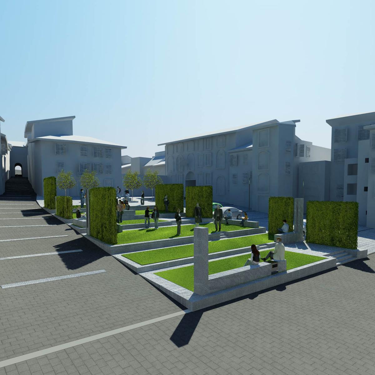 Piazza Amendola - Vista della nuova gradonata verde e del sistema di sedute integrato - Tommaso Vecci