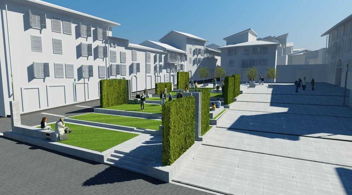 Piazza Amendola - Vista del sistema di pareti verdi e del vicino parcheggio pubblico - Tommaso Vecci