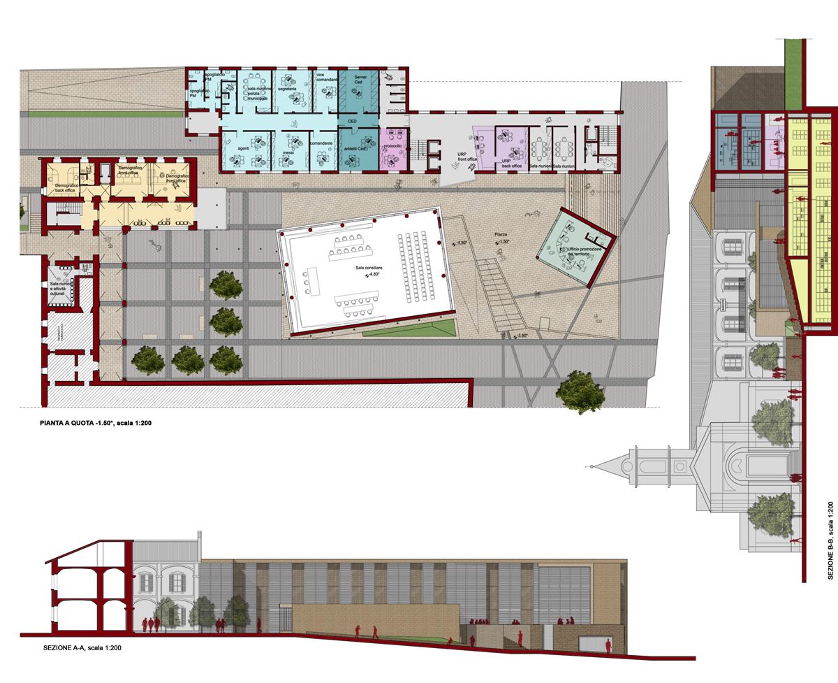 Piossasco - Elaborazioni grafiche della nuova sede del Palazzo Comunale - Tommaso Vecci
