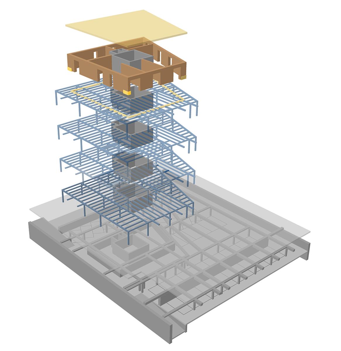 Lausanne - Vista assonometrica del concept strutturale - Tommaso Vecci