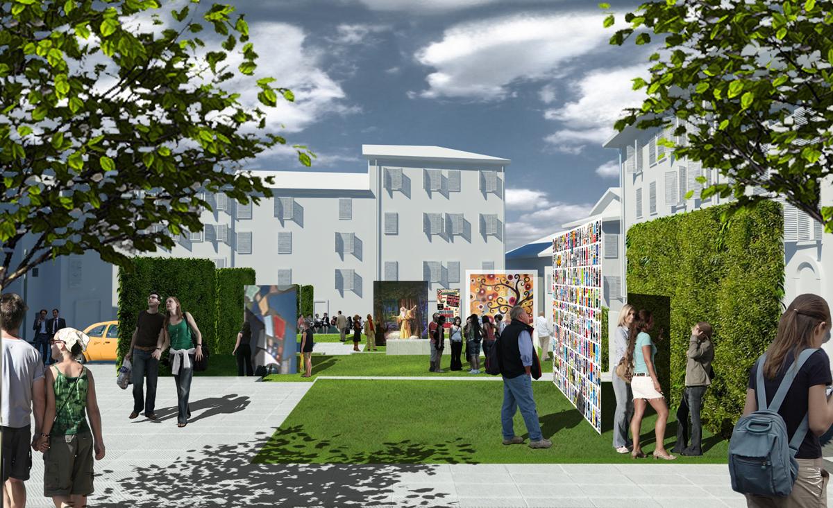 Piazza Amendola - Possibile allestimento della piazza per eventi espositivi - Tommaso Vecci