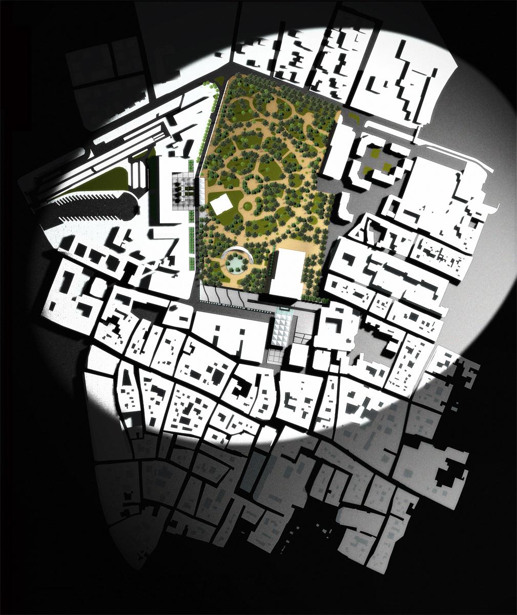 Reggio Emilia - Planivolumetrico dell'intervento urbanistico con individuazione del parco della Resistenza - Tommaso Vecci