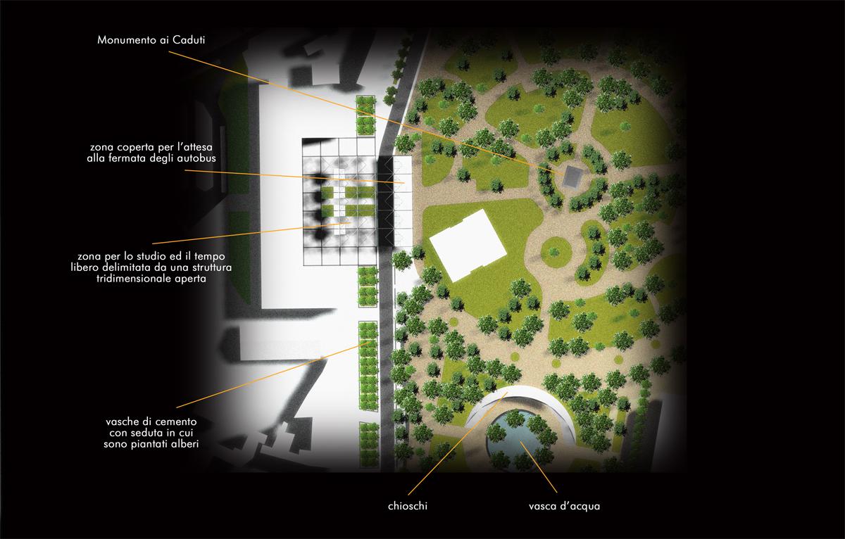 Reggio Emilia - Via Allegri, dettaglio con individuazione degli elementi del progetto - Tommaso Vecci