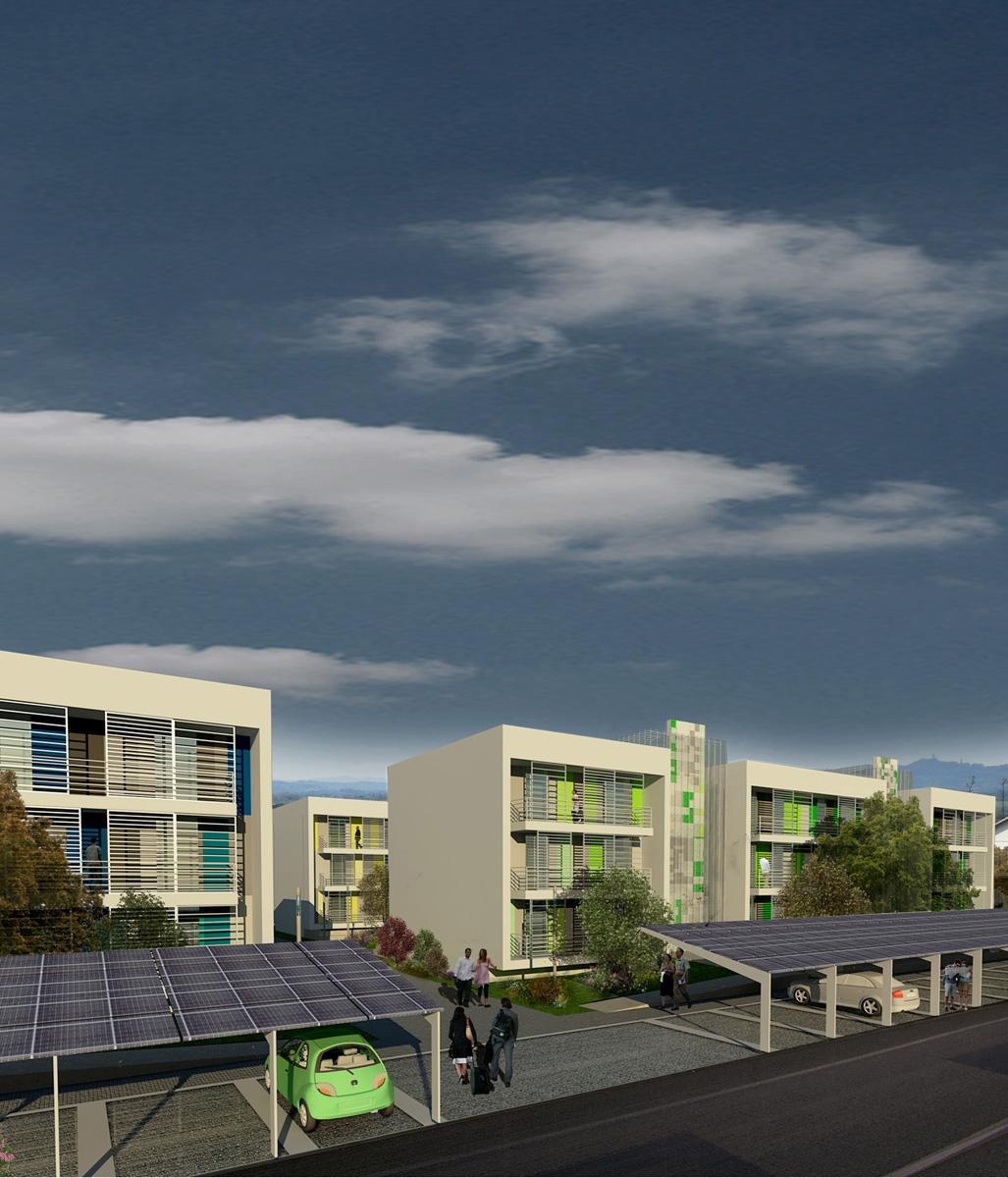 NEXT - Vista dell'intervento e delle coperture fotovoltaiche dei parcheggi - Tommaso Vecci