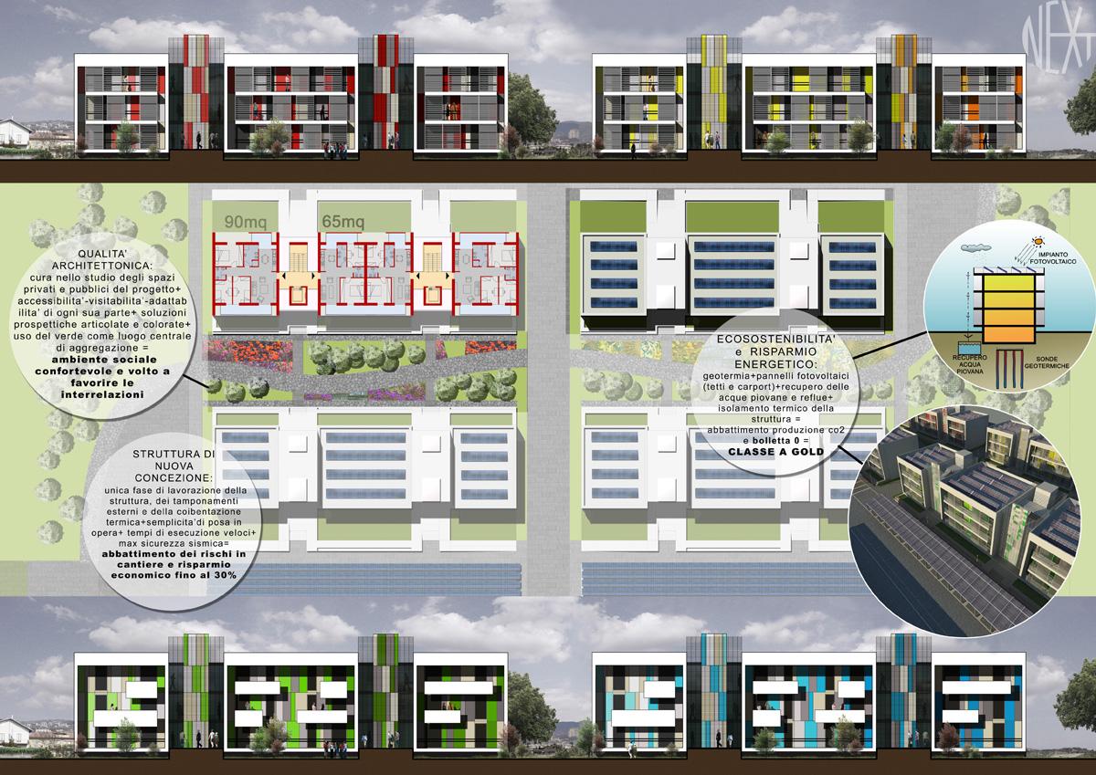 NEXT – Planimetria generale con individuazione di tipologie, soluzioni di facciata, aspetti bioclimatici e strutturali - Tommaso Vecci