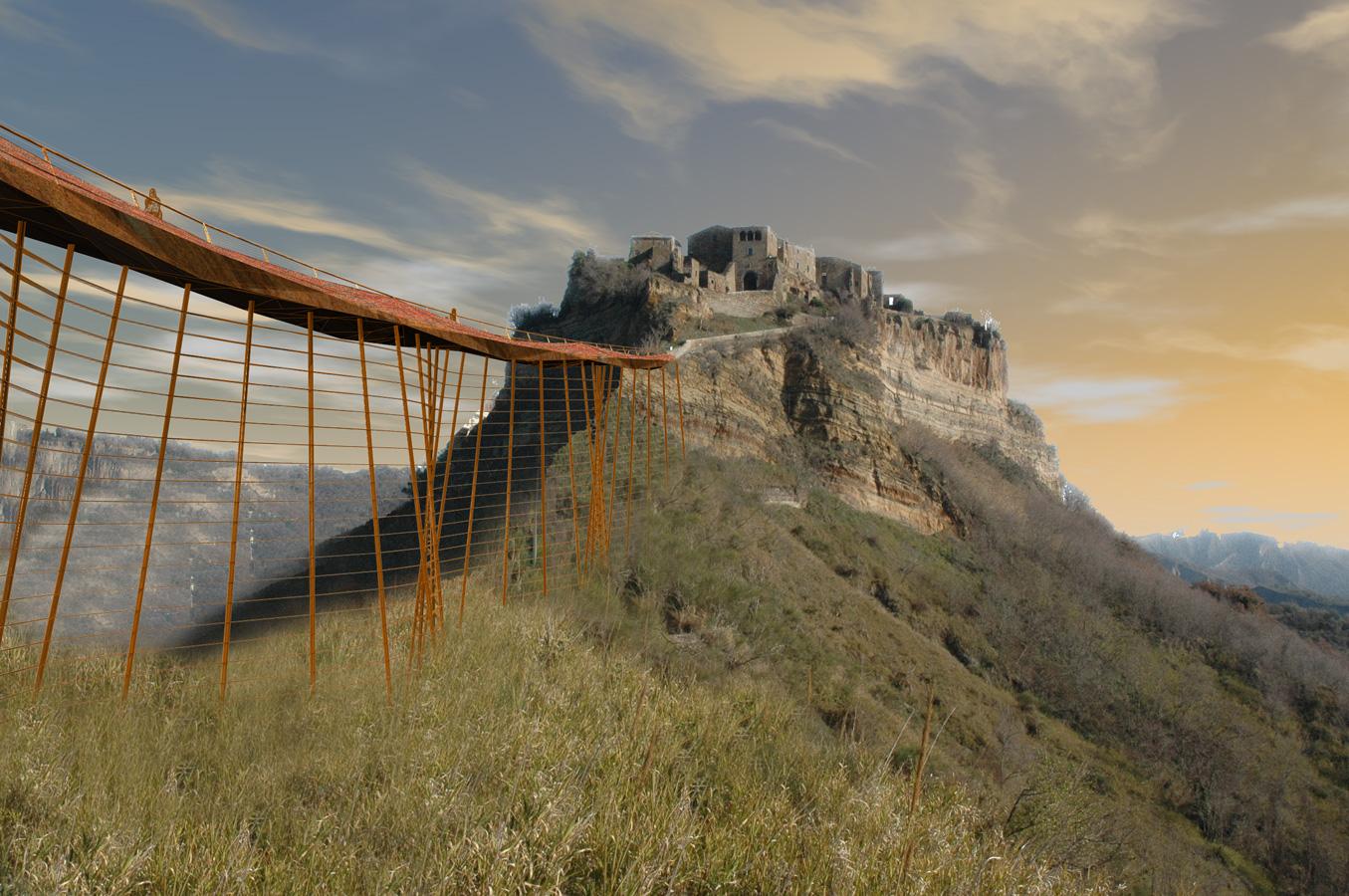 Civita – Vista dal basso del nuovo accesso - Tommaso Vecci