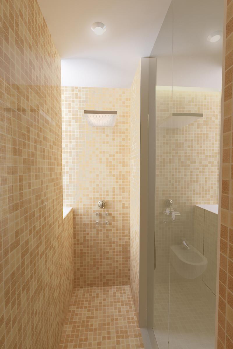 Coverciano - Vista della doccia con ante in vetro, mosaico e soffione - Tommaso Vecci