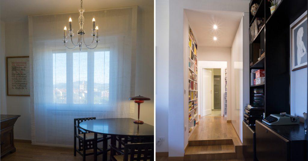 Casa C2- Zona ingresso con libreria a muro, controsoffitto con faretti e pavimento in legno - Tommaso Vecci architetto - Firenze