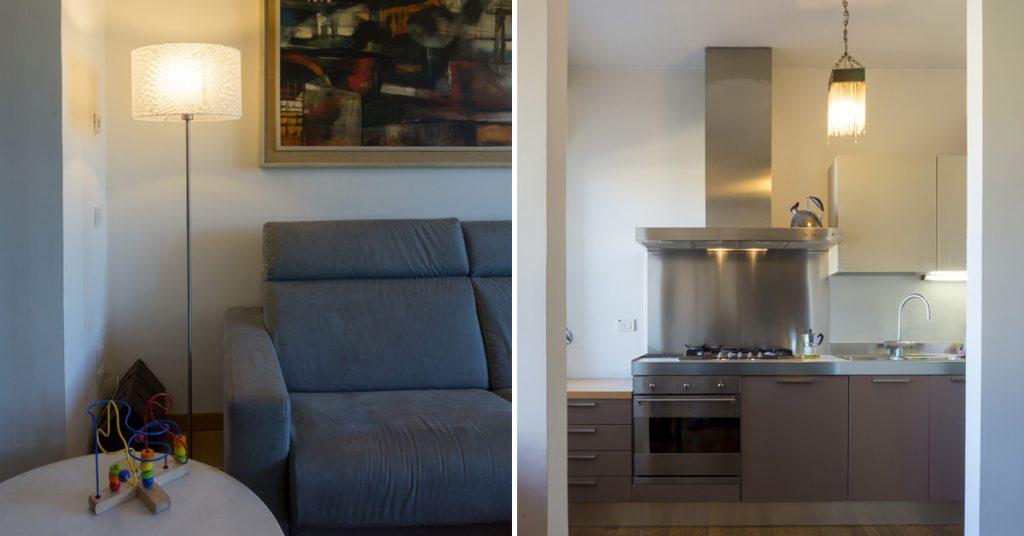 Casa C2- Dettaglio zona soggiorno, divano colore grigio, tavolo in marmo e lampada da terra con paralume in policarbonato - Tommaso Vecci architetto - Firenze