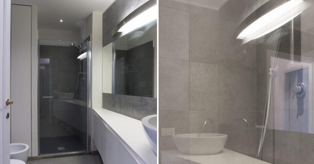 Casa C2- Dettaglio della doccia con riflessi sulla zona lavabo - Tommaso Vecci architetto - Firenze