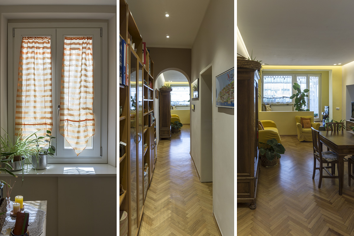 Casa E - Zona ingresso-disimpegno, controsoffitto con faretti e pavimento in legno - Tommaso Vecci