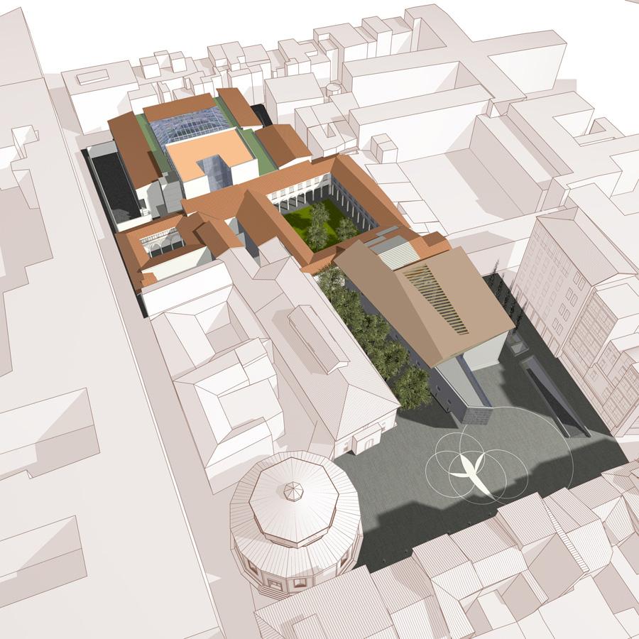 Piazza Brunelleschi – Vista assonometrica dell'intervento e sistemazione della piazza - Tommaso Vecci
