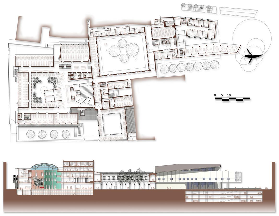 Piazza Brunelleschi – Planimetria generale dell'intervento con sezione longitudinale - Tommaso Vecci