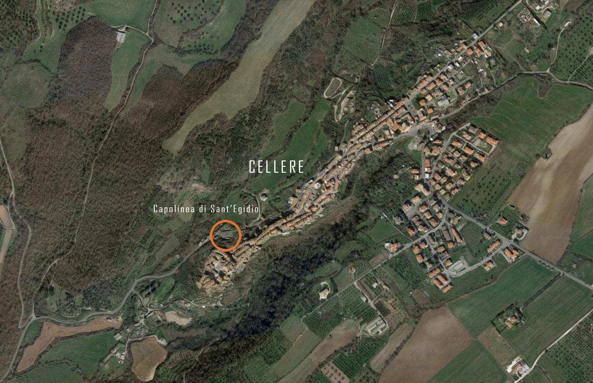 Capolinea Cellere - Foto aerea del centro abitato con localizzazione dell'intervento - Tommaso Vecci