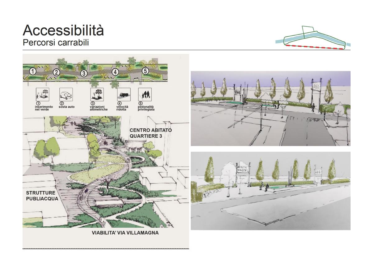 Masterplan Firenze sud – Schizzi di progetto per i percorsi carrabili - Tommaso Vecci