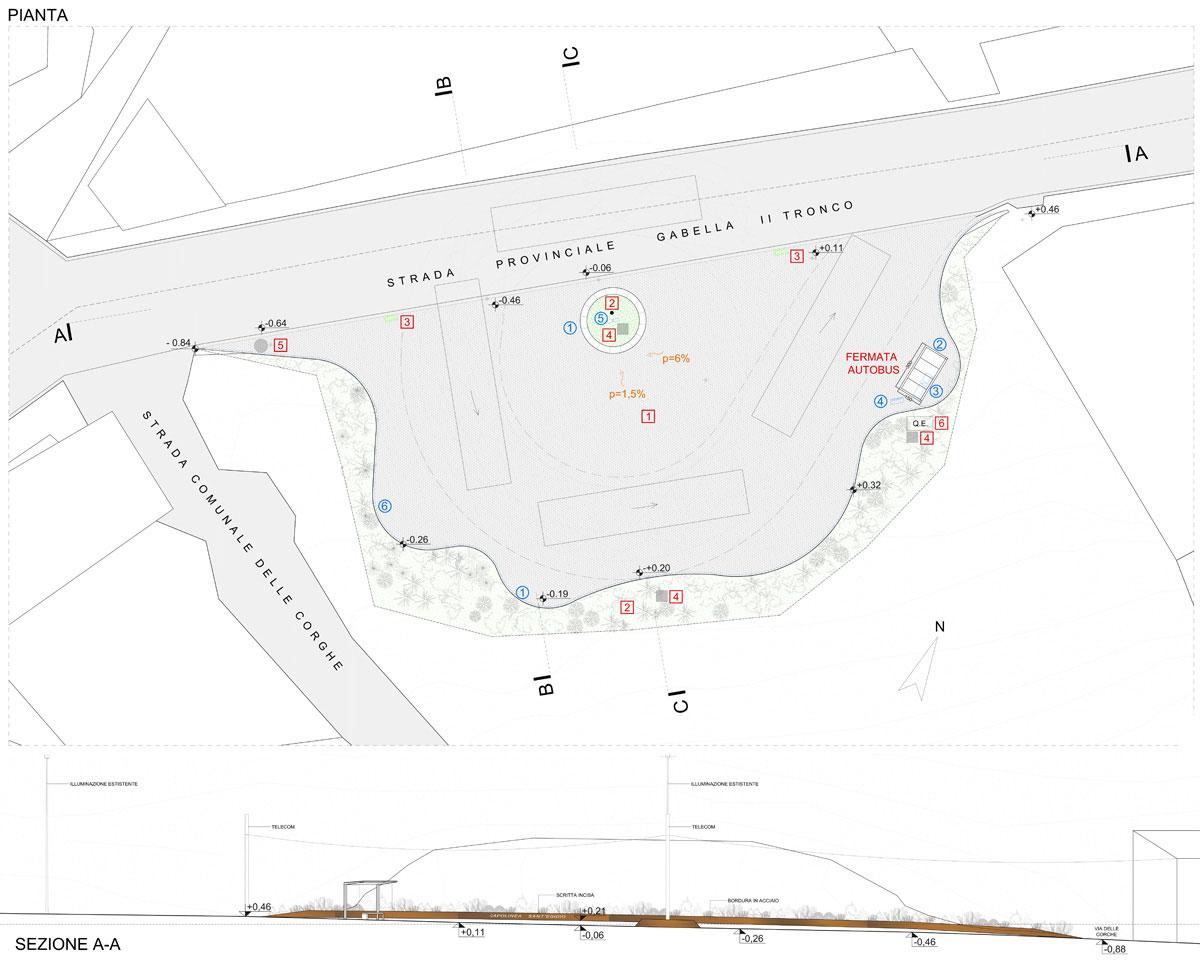 Capolinea Cellere - Planimetria generale di intervento con sezione ambientale - Tommaso Vecci