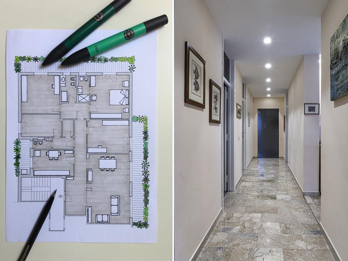 CASA CF - Planimetria con sviluppo dell'ipotesi progettuale e vista dall'ingresso - Tommaso Vecci