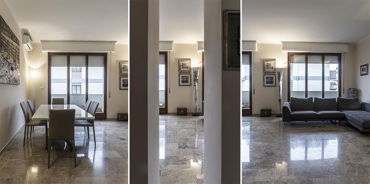 CASA CF - Vista dall'ingresso dell'ampia zona soggiorno-pranzo, con pavimento in marmo restaurato - Tommaso Vecci