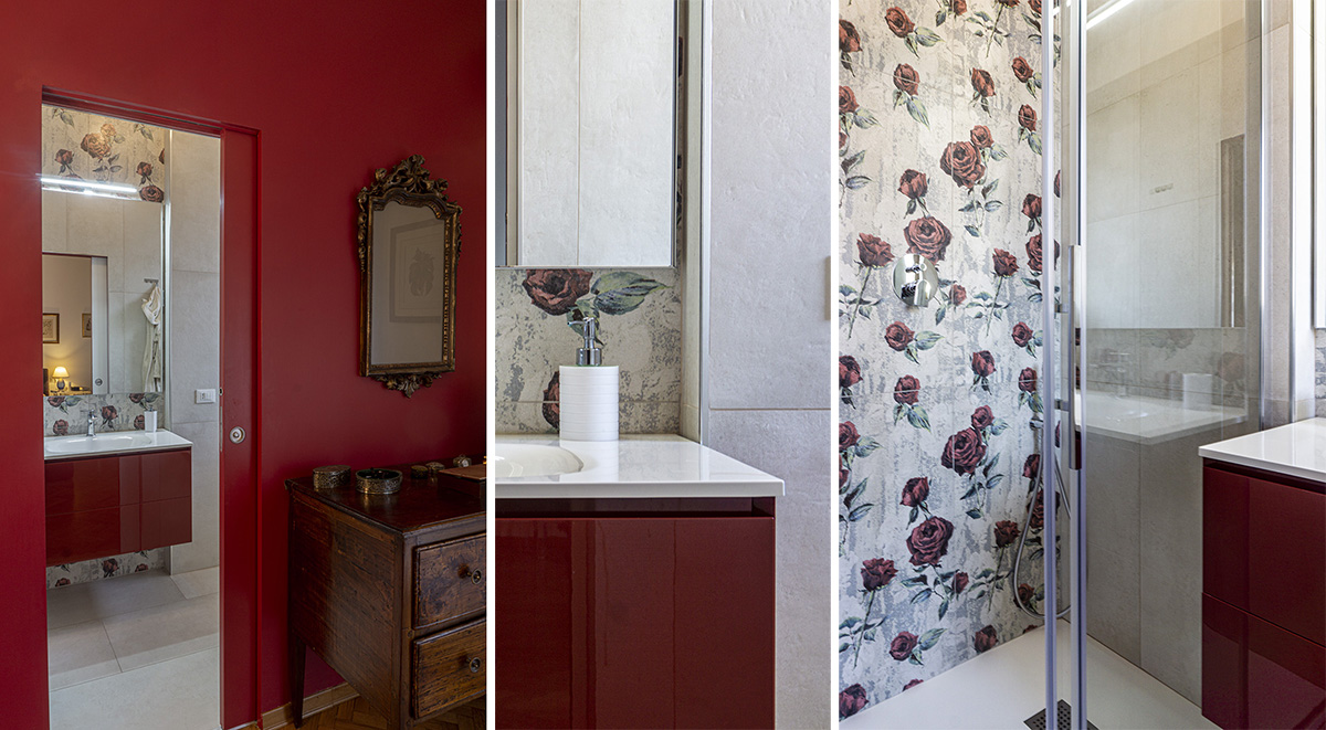 CASA CF - Dettaglio camera e bagno zona notte con colore rosso per pareti, mobile con anta lucida e decori floreali - Tommaso Vecci