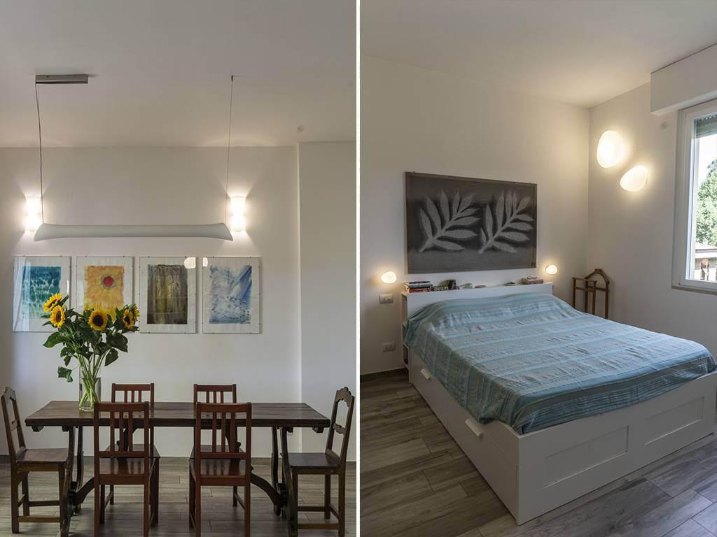 Un esempio di riorganizzazione funzionale: Casa_M-P - sala da pranzo e camera - architetto Tommaso Vecci Firenze